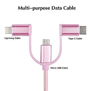 Ladekabel, Alfort USB Kabel Nylon Gewebeweben Schnellladung Drei-in-eins universal Für iPhone 5 / 6 / 6S / 6 Plus / 7 / 7 plus / 8 / 8 Plus Samsung Galaxie S7 / S9 / a5 MacBook und alle iPhone Android Type-C Serie Produkte ( Rosa )