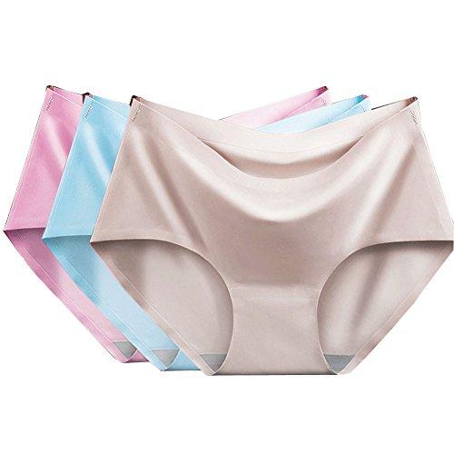 BIUBIONG Braguitas Sin Costuras para Premama Slip Cómodo Cintura Media Respirable Reductora para Mujer Silk Lingerie en Paquete de 3,M-XL