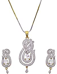 Zeneme American Diamond Gold Plated Jewellery Necklace with Earrings for Girls and Women
