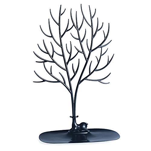 Qisf cervo albero supporto, supporto per gioielli collana/supporto/braccialetto espositore home decor decoration gift piece e plastica, colore: nero, cod. 1