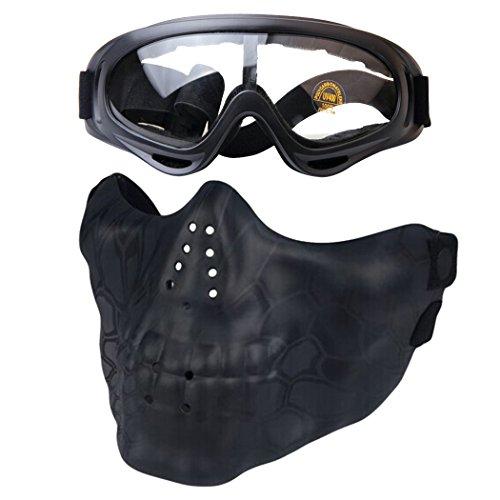 Fansport Airsoft Maske Halbe Gesichts Maske Schutz Anti Impack Schädel Muster Gesichts Maske mit Outdoor Goggles