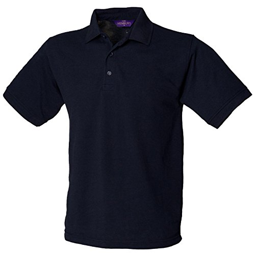 Henbury Herren komfortable Fit Stand-Up Collar Short Sleeved-Poloshirt 65/35 (DE) Blau - Navy
