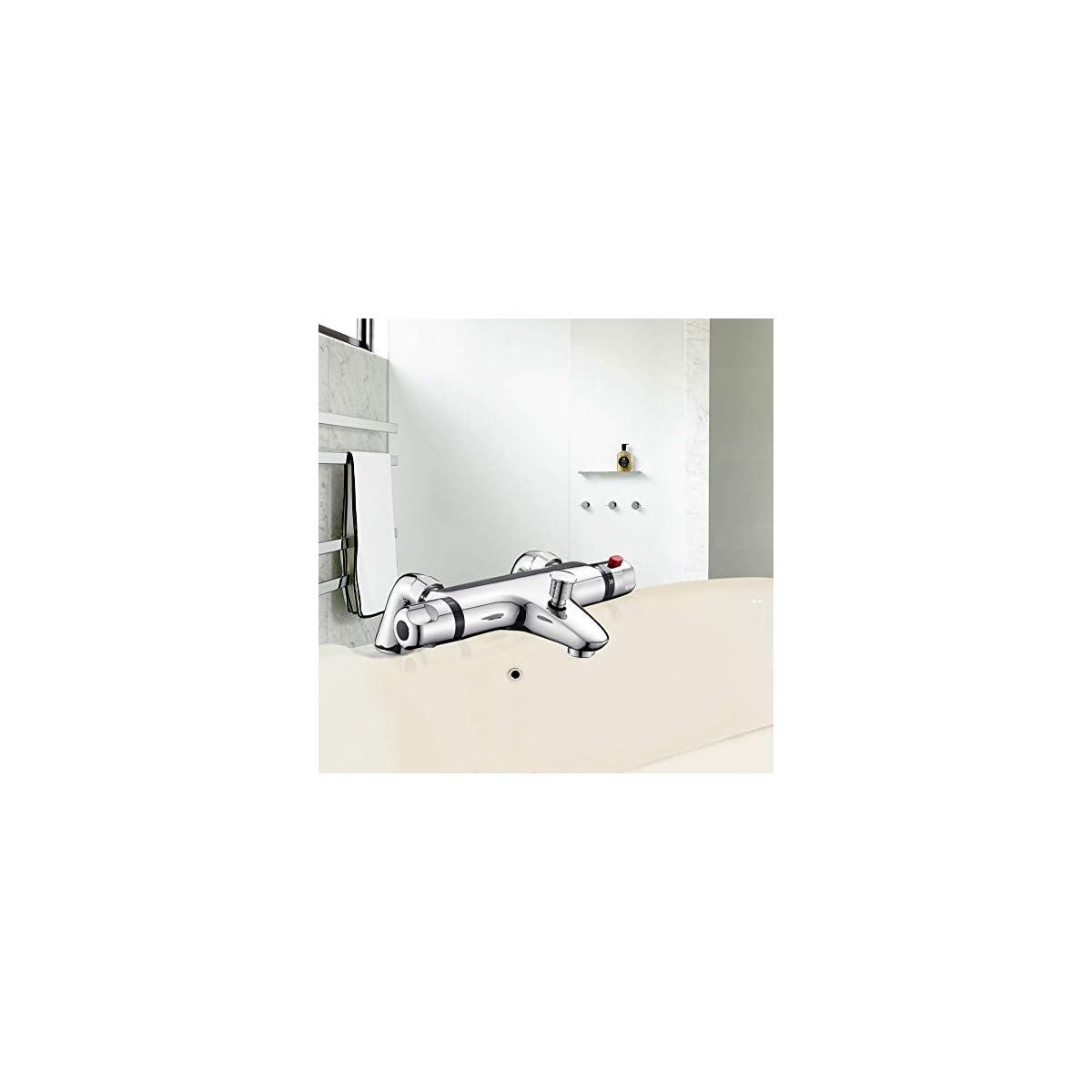 41Y9XMmioXL. SS1200  - Grifo Bañera MOCHUAN Grifo Ducha Temperatura 38°C Control Flujo del Agua Ajustables Termostato de Ducha Válvula Inteligente Grifos de ducha y bañeras Cromado 20-50℃ (Bathtub Style)