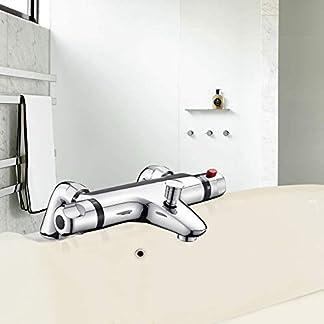Grifo Bañera MOCHUAN Grifo Ducha Temperatura 38°C Control Flujo del Agua Ajustables Termostato de Ducha Válvula Inteligente Grifos de ducha y bañeras Cromado 20-50℃ (Bathtub Style)