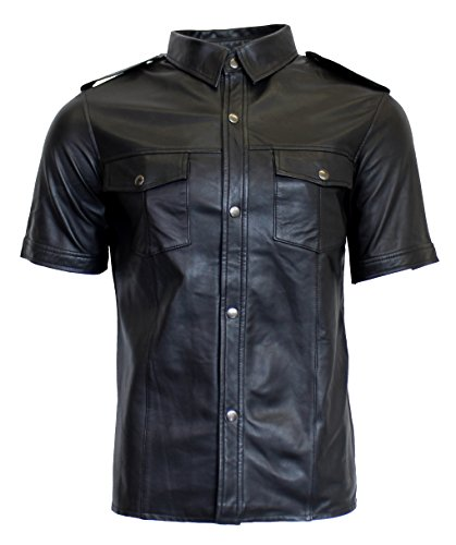 RICANO Mens Shirt SS, Herren Lederhemd, Lamm Nappa Echtleder (Schwarz) (2XL)