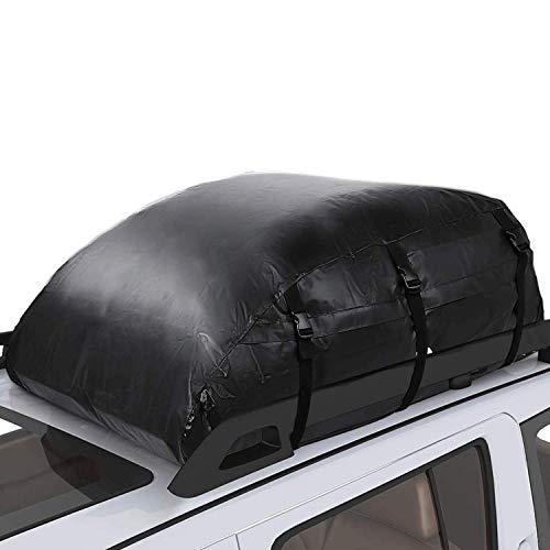 Pujuas Auto Dachbox, 580L Faltbare Dachtasche Wasserdicht Auto Dachkoffer Gepäckbox Tragbar Dachboxen Dachgepäckträger Tasche für Reisen und Gepäcktransport, Schwarz