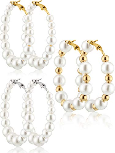 Pearl Hoop Earrings 3 Pairs Pearl Earrings Gifts for Women Brides Gift