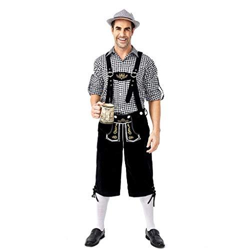ZHANSANFM Oktoberfest Trachtenhemd Herren Set 2-teilig Bierfest Gitter Hemd + Trachten Schwarz Wildveloursleder Bayerische karnevalskostüme Traditionelle Kostüme Vintage Elegant (2XL, Schwarz) (Skull Plaid Kostüm)