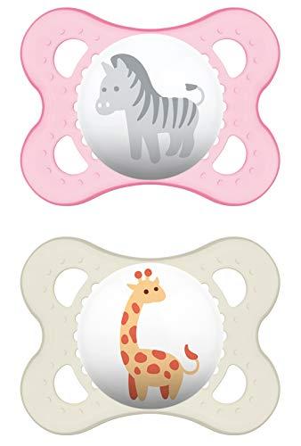 MAM Original Silikon Schnuller im 2er-Set, besonders sanfter Schnuller, Baby Schnuller aus speziellem MAM SkinSoft Silikon mit Schnullerbox, 0 - 6 Monate, rosa