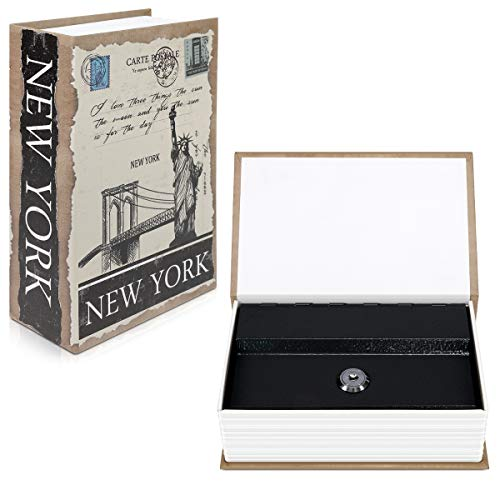 Navaris Caja fuerte con forma de libro - Caja de caudales escondida para guardar dinero joyas relojes...