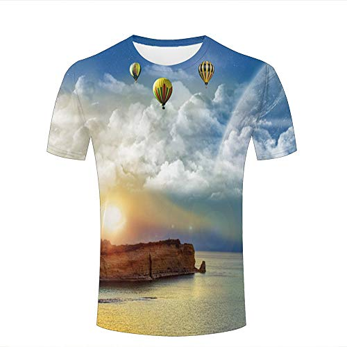 Men 3D Printed Fashion T-Shirts Blue Sky Sea and Hot Air Balloon Casual Short Sleeve Shirts Novelty Tees S