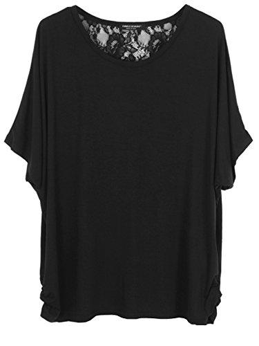 Emma & Giovanni T-shirt/Oberteile Mit Spitze zurück- Damen (Schwarz, S/M)