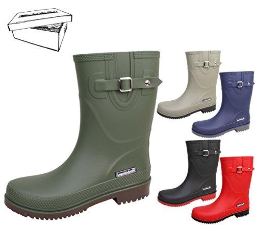 BOCKSTIEGEL® JETTE - Standard/K/KB Bottes de pluie courtes pour Femmes | Boucle latérale à la mode | Logo | Production européenne | Confortable