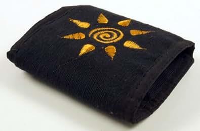 Guru-Shop Porte-monnaie Solaire, Mixte Adulte, Noir, Coton, 10x12 cm, Fait de Tissu, le Chanvre