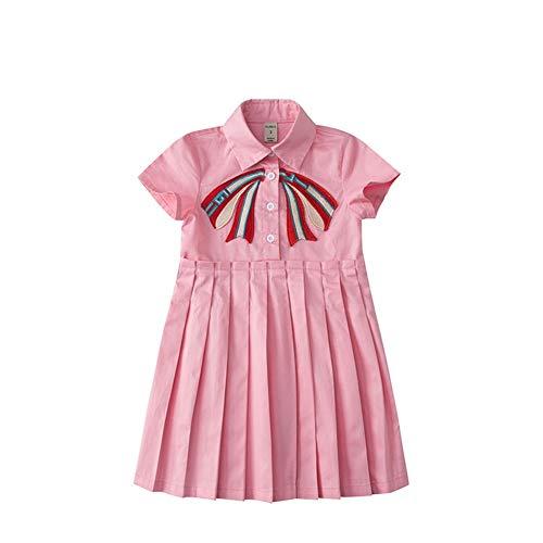Mornyray Baby Kleidung Einteiliges Kinderkleid Mädchen Kurzarm Sommer Plain Plain Frontöffnung Sammeln Polo (Color : Pink, Size : 100cm)
