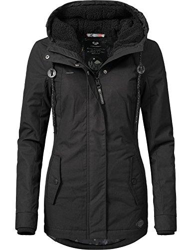 Ragwear Damen Jacke Winterjacke YM-Monade (vegan hergestellt) Black Gr. L (Winter Parka)