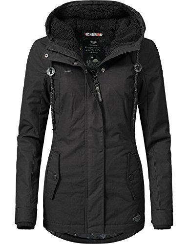 Ragwear Damen Jacke Winterjacke YM-Monade (vegan hergestellt) Black Gr. XL