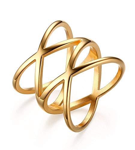 YABEME Edelstahl Gold überzogen Double X Criss Cross Statement Ring für Frauen - Frauen Cross Ring Criss