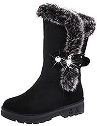 Bottes D'hiver Femme De Coin En Cuir Zipper Chaussures Plate-forme Doublée En Laine Polaire De Taille - Cuir Synthétique Noir, 37