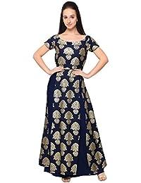 [Sponsored]Ahalyaa Gold Print High Slit Kurti With Skirt Combo
