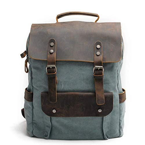 Klsify Men Backpack Canvas Backpack Leather School Bag Neutral Portable Wearproof Travel Bag,Dark Grey,Lakegreen