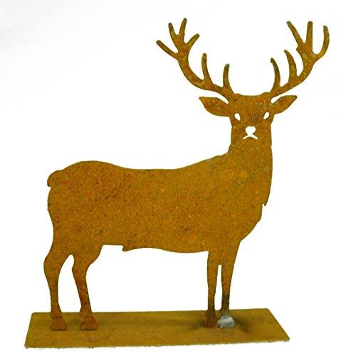 Metallmichl Edelrost-Hirsch mit direktem Blick auf Platte, Höhe 40 cm, Dekofigur aus rost Metall für innen und außen