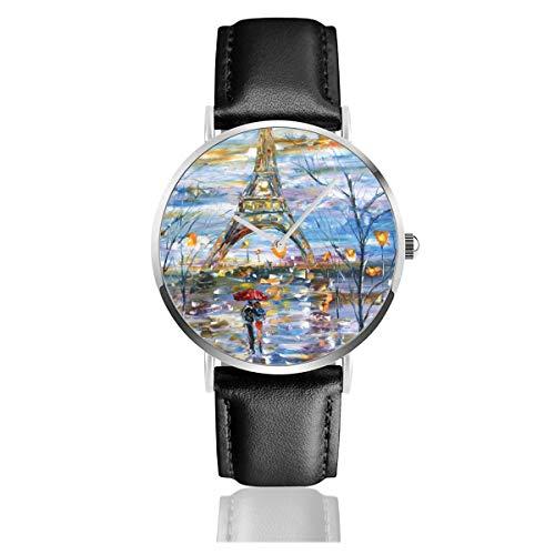 Paris Original Malerei Eiffelturm 1 Casual Uhren für Herren Damen Damen mit schwarzer Lederuhr ()
