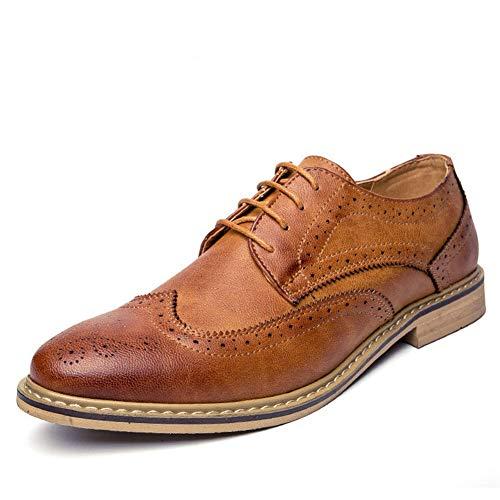 Männer Oxfords Kleid Schuhe Leder Brogue Herren Wohnungen Schuhe Casual Britischen Stil Für Männer - Britischen Tan Leder