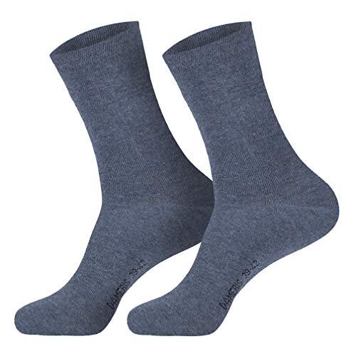6 Paar Damen Komfort Socken mit extra weichen & breitem Bund ohne Gummi aus hochwertiger Baumwolle (schwarz, weiss, beige, braun, marine), Jeans, 39/42