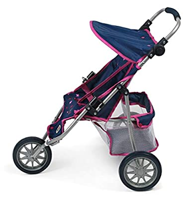 Bayer Chic 2000 697 72 Jogger, Zwillings-Puppenwagen, Stars Navy pink