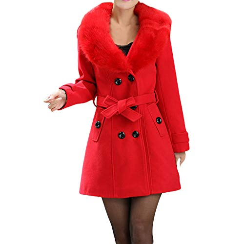 (Wollmantel Frauen MYMYG Damen Winterjacke Trenchcoat Revers Wollmantel Trench Jacke Langarm Mantel mit Pelzkragen Outwear(rotEU:44/CN-3XL))