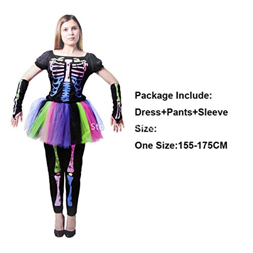 ERFD&GRF Skeleton Rainbow Scary Cosplay Kinder Erwachsene Halloween Kleid Frauen Baby Girl Horror Kostüm Hexe Männer Devil Disguise Carnival Party, Farbe 1, Einheitsgrösse (Childs Hexe Kostüm)