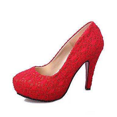 Wsx & Plm Femmes-talons-casual-confortable-carré-pu (polyuréthane) -noir / Rouge / Tissu Rouge Amande