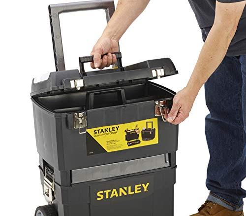 Stanley Rollende Werkstatt / Werkzeugwagen (47.3×30.2×62.7cm, zwei seperat verwendbare Werkzeugboxen, robuster Kunststoff, zwei Einheiten, Metallschließen, Organizer) 1-93-968 - 6