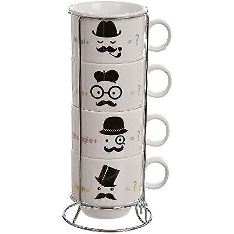 Juego 4 tazas original ceramica capacidad: 150 cc. con soporte metálico.