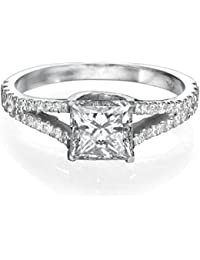 1 CT Diamond Ring Princess Cut Classic Solitaire Setting with Sidestones H/SI1 (Clarity Enhanced) in 18ct White Gold