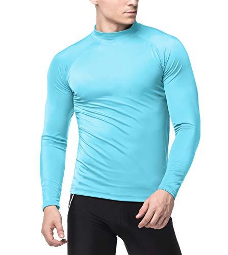 LAPASA Herren UV Sonnenschutz UPF 50+ Basic Skins Langarm Rash Guard Crew Shirt MEHRWEG M43 (Aqua(ohne Logo), M (letzter Abbildung zufolge)) -
