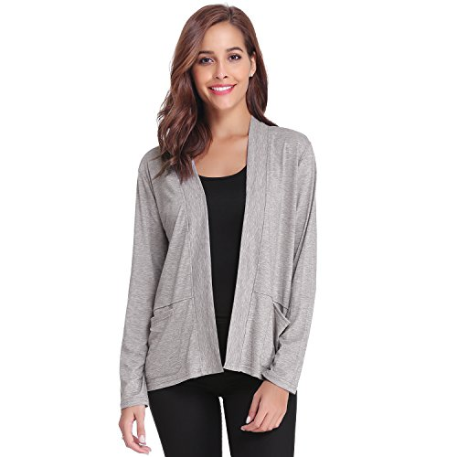 Luxspire Women's Casual Long Sleeve Open Front Loose-fit Cardigan Solid Color Outwear, Gray, Large - Solid Knit Short