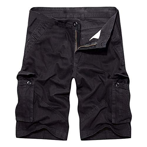 Aiserkly Herren Sommer Multi-Pocket Overalls Shorts Hose aus Reiner Baumwolle Cargo Kurze Freizeithose Arbeitshose -