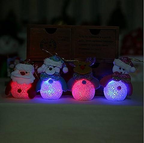 UChic 4 Teile / satz Schneemann Bunte Farbe Kleine Nacht Lichter Kreative Aktivitäten Ein Geburtstagsgeschenk Dekor Urlaub Beleuchtung Nachtlicht Reis Kristall LED Nachtlicht Für (Weihnachten Seil Spielzeug)