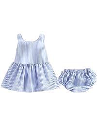 Xuefoo Conjunto de pantalón Corto y Lazo a Rayas para niña, sin Espalda