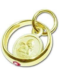 CLEVER SCHMUCK Goldener Mädchen Taufring 12 mm mit Engel rund und Edelstein Rubin rot glänzend 333 Gold 8 Karat