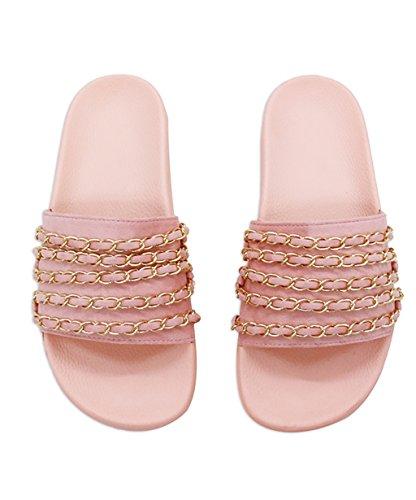 CHAOXIANG Pantofole Da Donna Antiscivolo Ciabatte Piatte Sandali Da Surf Nuova Estate Ciabatte Spiaggia ( Colore : Bianca , dimensioni : EU37.5/UK4.5/CN38 ) Rosa