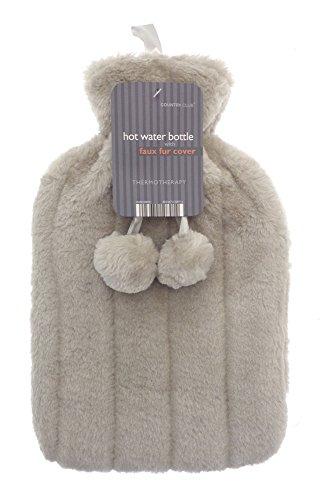 Bolsa de agua caliente - Funda de suave piel sintética - Marrón/tostado -...