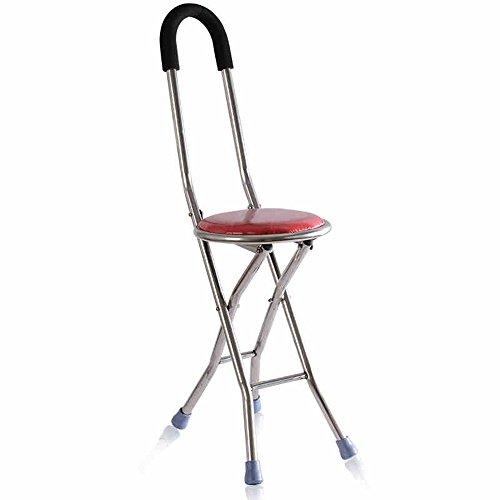 MAZHONG Tabourets Chaise pliante de chaise de rotin à quatre pattes en acier inoxydable (Couleur : A)