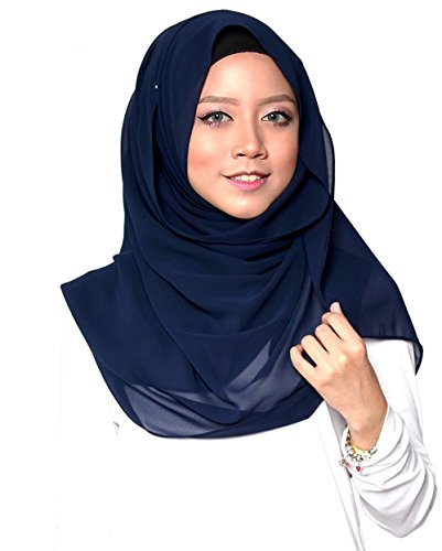 ❤️ SAFIYA - Hijab Kopftuch für muslimische Frauen I Islamische Kopfbedeckung 75 x 180 cm I Damen Gesichtsschleier, Schal, Pashmina, Turban I Musselin / Chiffon - Marineblau