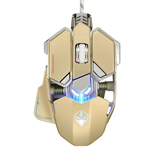 Yusun 4000 DPI 10 Tasten LED optische USB Wired Professionelle Gaming Maus Mäuse (Gold) - Wheel Usb Wired Optical Mouse