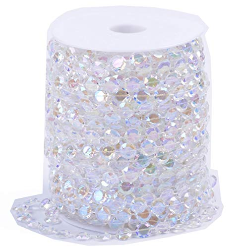 30m 100ft 10mm cristallo come perline iridescente filo di strass acrilico ottagonale ghirlanda con catena a cordino perline per matrimoni, feste, tende, decorazioni per la casa (colore ab)