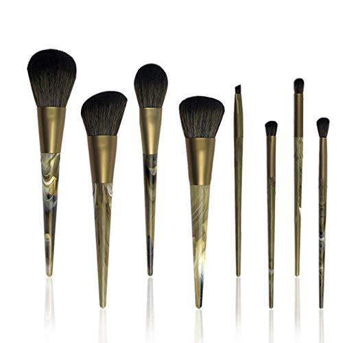 Ensembles de pinceaux de maquillage, fibre souple poignée en plastique tube en aluminium pinceaux de maquillage 8 pcs avec sac PU pour débutant or