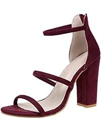 Sandalias mujer, ❤️ Manadlian sandalias del verano abren los zapatos sandalias de las mujeres del dedo (CN:38, Rojo)